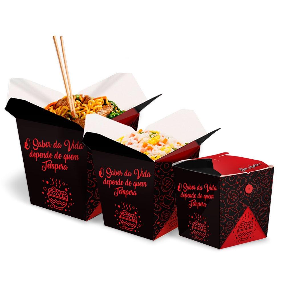 KIT | Embalagens Box para Yakisoba Delivery P,M,G PRETO - 100 unidades de cada