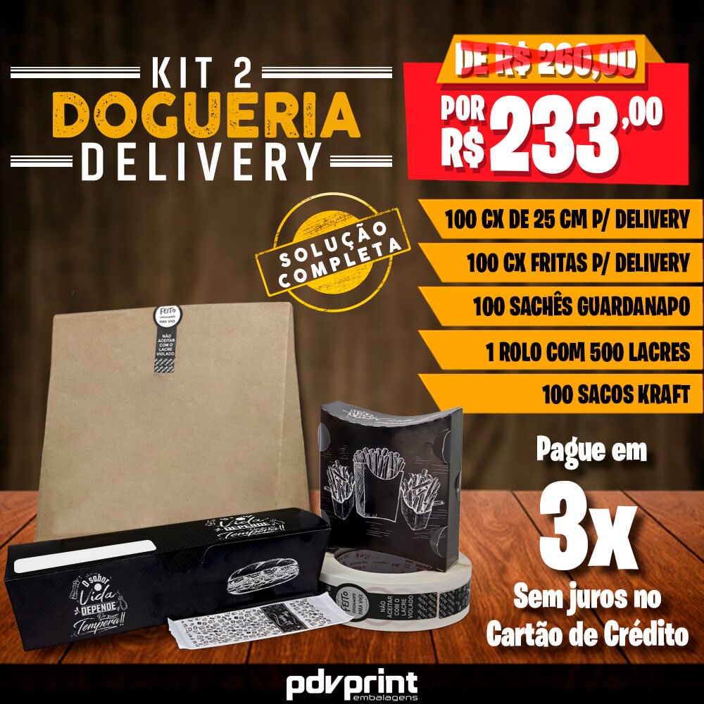 KIT Embalagens Dogueria DELIVERY 25cm