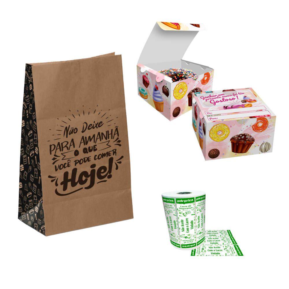 KIT para Delivery de Doces, Donuts e Rosquinhas