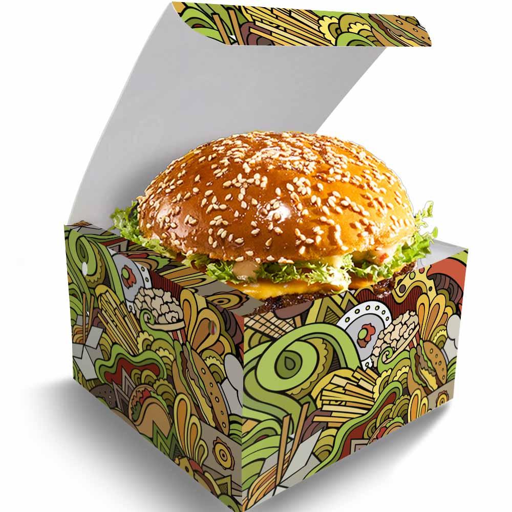 OFERTA   100 Box Hamburguer GG + 100 Caixas Batata Frita Delivery VERDE