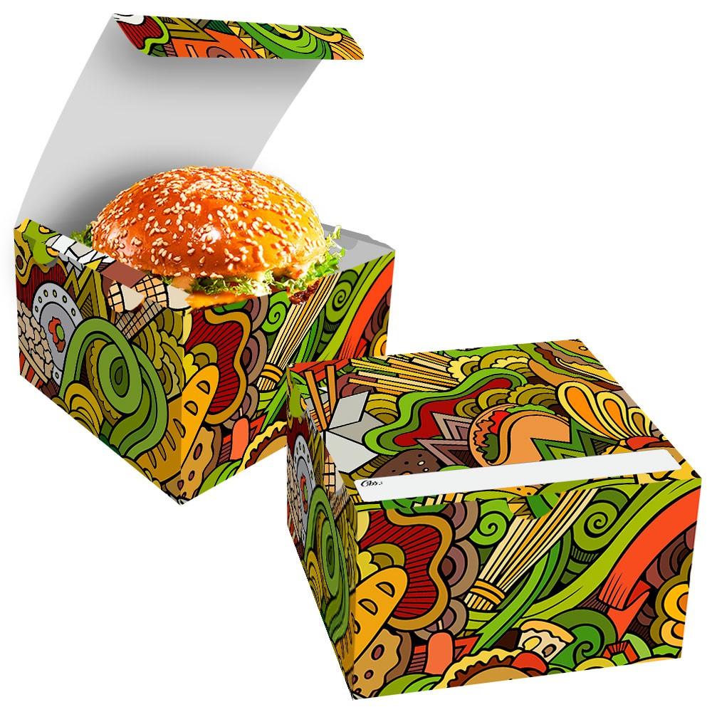 OFERTA | 100 Box Hamburguer Grande + 100 Caixas  Batata Frita VERDE