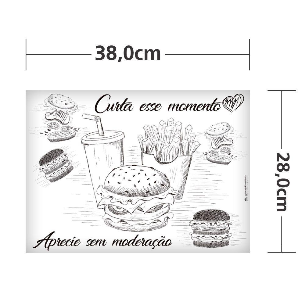 Papel manteiga para embrulhar hamburguer, lanche ou sanduíche 1000un