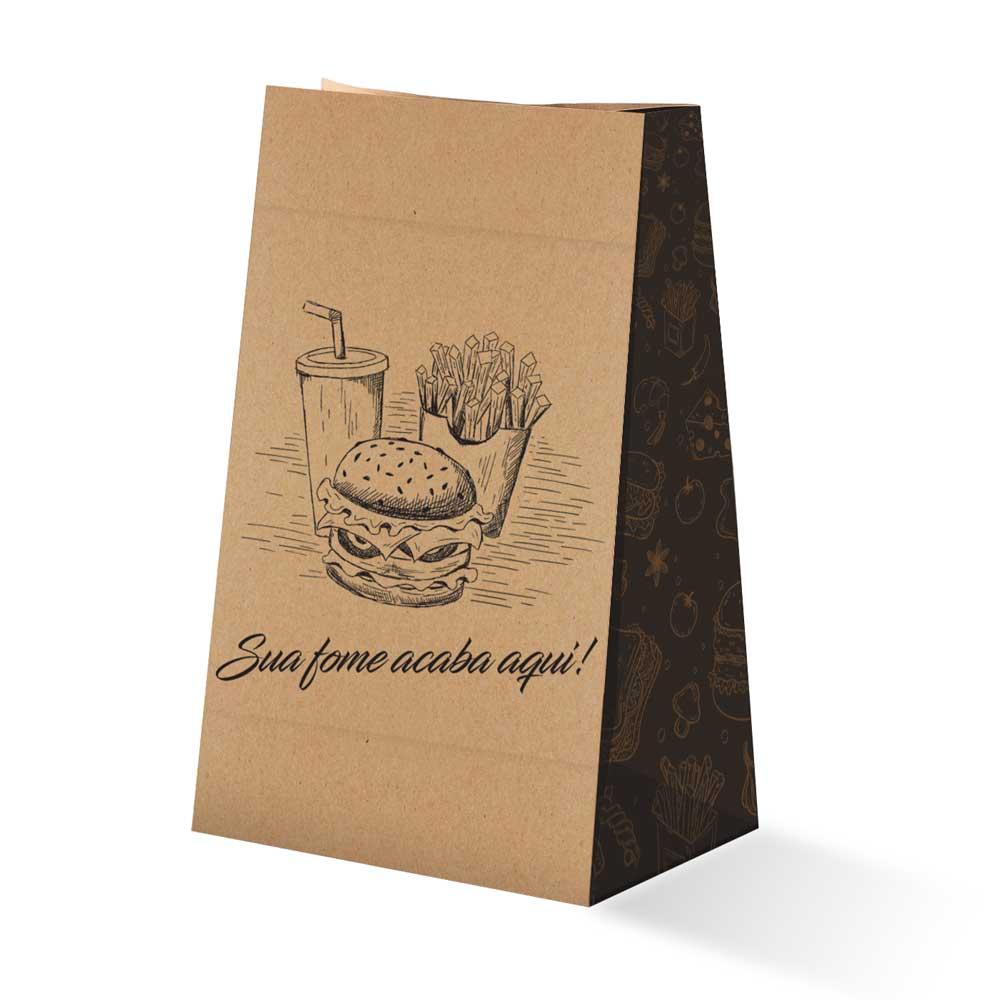 Saco Kraft para Delivery Pequeno sem Alça - 100 unidades
