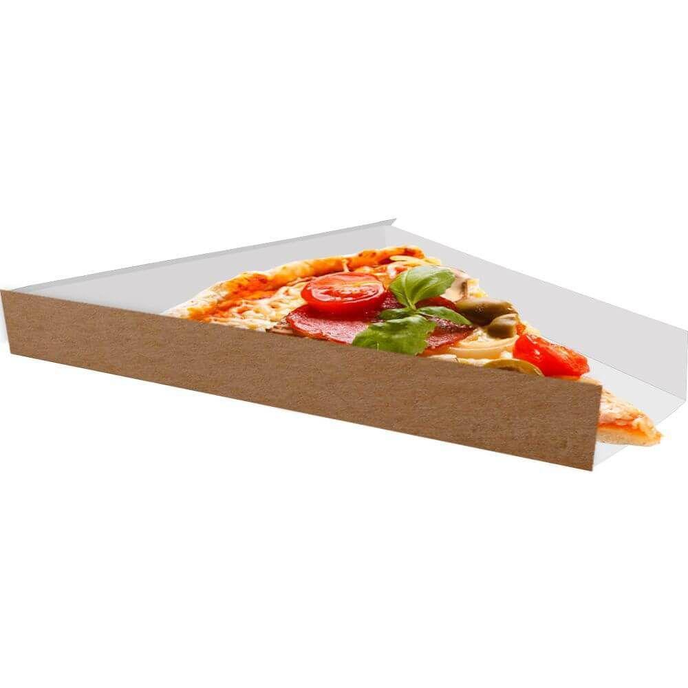Suporte | Embalagem Para Fatia De Pizza - Branco ou Kraft - 300 Unidades