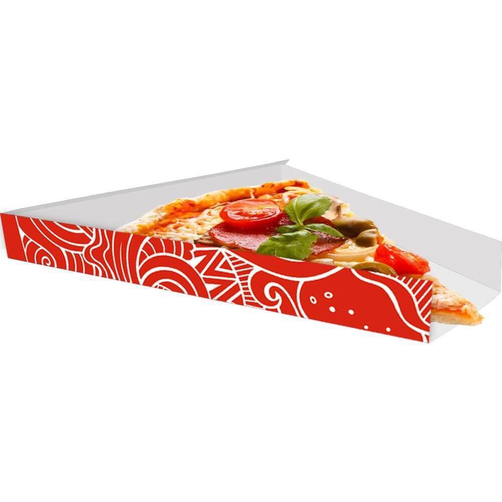 Suporte | Embalagem Para Fatia De Pizza VERMELHO - 100 unidades