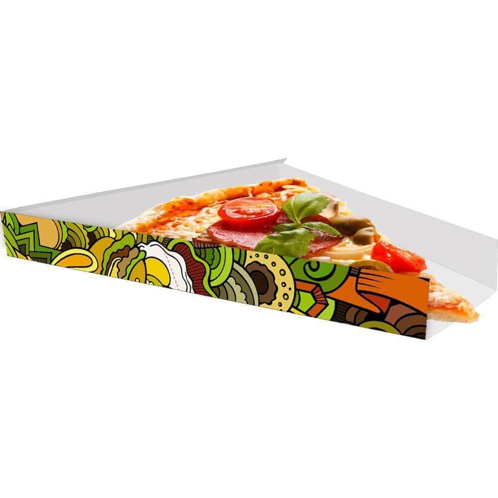 Suporte | Embalagem Para Fatia De Pizza VERDE - 100 unidades