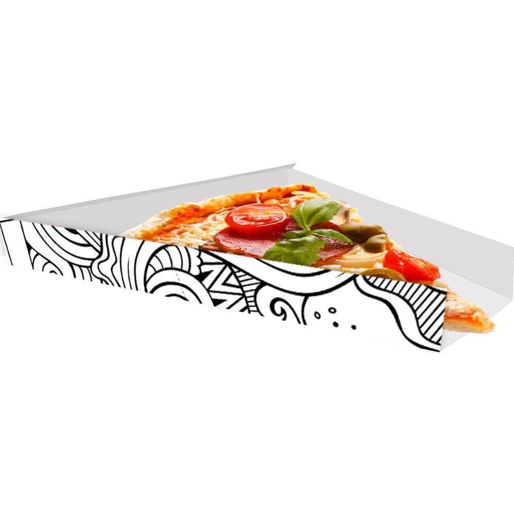 Suporte | Embalagem Para Fatia De Pizza BRANCO E PRETO - 100 unidades