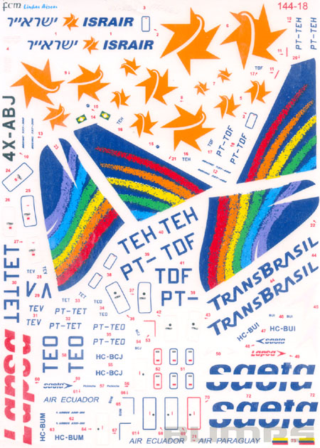 Decalque Boeing 737-300 e 737-400 TransBrasil 1/144 - FCM 144-18  - BLIMPS COMÉRCIO ELETRÔNICO