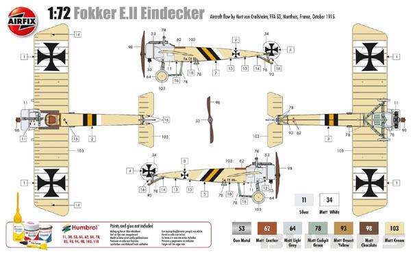 Fokker E.II Eindecker - 1/72 - Airfix A01086  - BLIMPS COMÉRCIO ELETRÔNICO