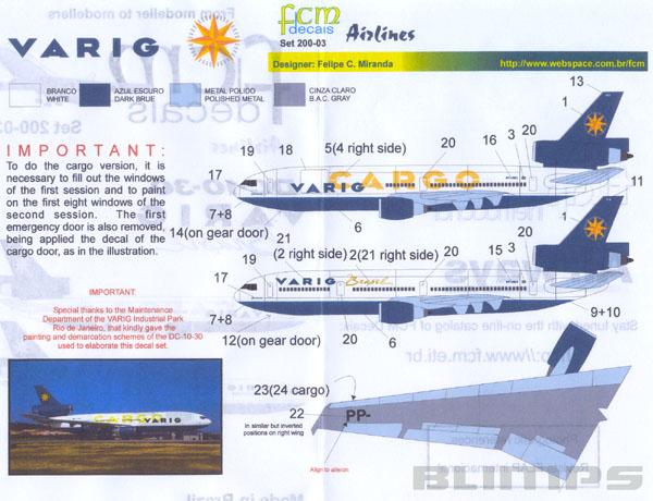 Decalque Douglas DC-10-30 Varig e DC-10-30F Varig Cargo 1/200 - FCM 200-03  - BLIMPS COMÉRCIO ELETRÔNICO
