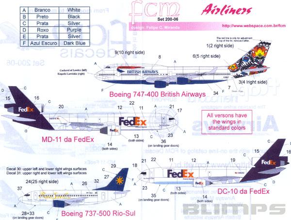Decalque Boeing 737-500 Rio Sul 1/200 - FCM 200-06  - BLIMPS COMÉRCIO ELETRÔNICO