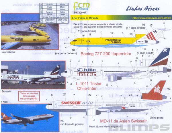 Decalque Boeing 727-200 Itapemirim Cargo 1/200 - FCM 200-07  - BLIMPS COMÉRCIO ELETRÔNICO