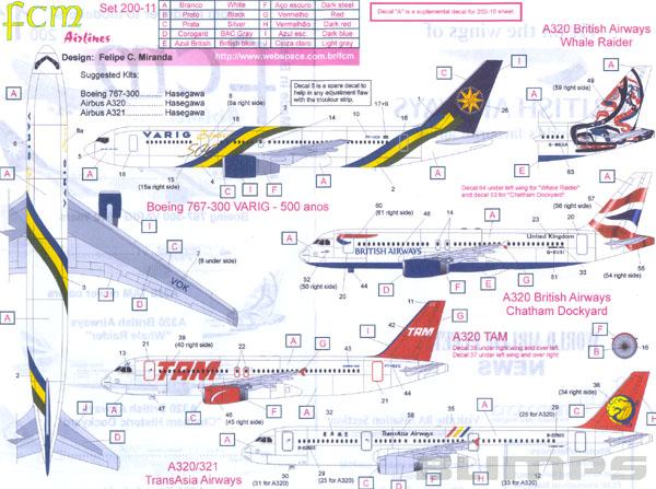 Decalque A320 TAM e Boeing 767-300 Varig ´500 Anos´ 1/200 - FCM 200-11  - BLIMPS COMÉRCIO ELETRÔNICO