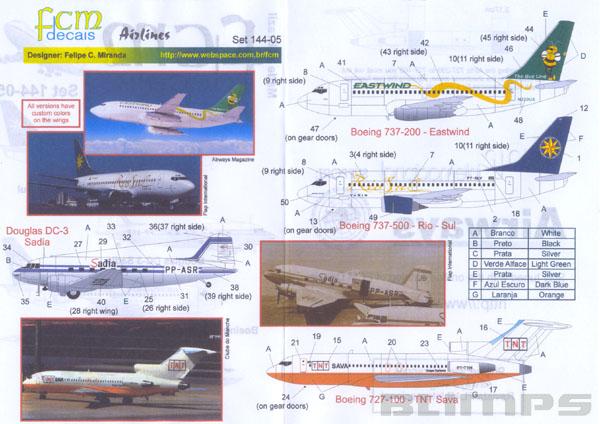 Decalque Boeing 737-500 Rio Sul, Boeing 727-200 TNT Sava e Douglas DC-3 Sadia 1/144 - FCM 144-05  - BLIMPS COMÉRCIO ELETRÔNICO