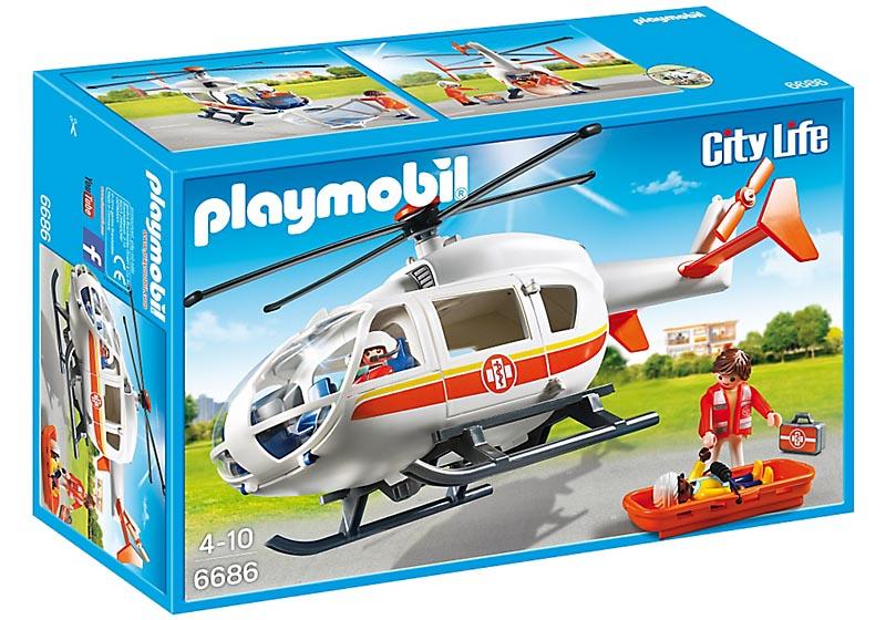 Playmobil City Life - Helicóptero de Emergência Médica - 6686  - BLIMPS COMÉRCIO ELETRÔNICO