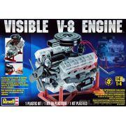 Motor V-8 móvel com interior visível - 1/4 - Revell 85-8883