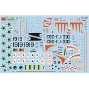 Decalque F-80 e AT-33 Brasil, Chile, México e Portugal 1/72 - FCM 72-032