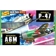 P-47D Thunderbolt e A6M Zero - 1/48 - Lindberg HL507