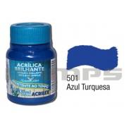 Tinta Acrílica Brilhante 501 Azul Turquesa (37 ml) - Acrilex 033400501
