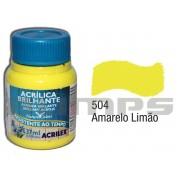 Tinta Acrílica Brilhante 504 Amarelo Limão (37 ml) - Acrilex 033400504