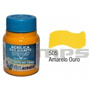Tinta Acrílica Brilhante 505 Amarelo Ouro (37 ml) - Acrilex 033400505