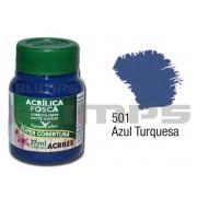 Tinta Acrílica Fosca 501 Azul Turqueza (37 ml) - Acrilex 035400501