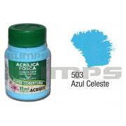 Tinta Acrílica Fosca 503 Azul Celeste (37 ml) - Acrilex 035400503