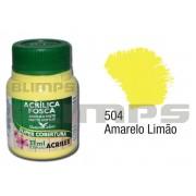 Tinta Acrílica Fosca 504 Amarelo Limão (37 ml) - Acrilex 035400504