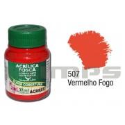 Tinta Acrílica Fosca 507 Vermelho Fogo (37 ml) - Acrilex 035400507