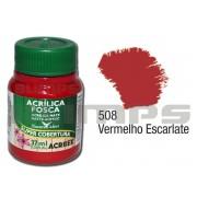 Tinta Acrílica Fosca 508 Vermelho Escalarte (37 ml) - Acrilex 035400508