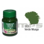 Tinta Acrílica Fosca 513 Verde Musgo (37 ml) - Acrilex 035400513