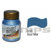 Tinta Acrílica Metalizada (Metal Color) 535 Azul Mar (37 ml) - Acrilex 036400535