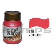 Tinta Acrílica Metalizada (Metal Color) 555 Vermelho (37 ml) - Acrilex 036400555