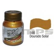Tinta Acrílica Metalizada (Metal Color) 598 Dourado Solar (37 ml) - Acrilex 036400598