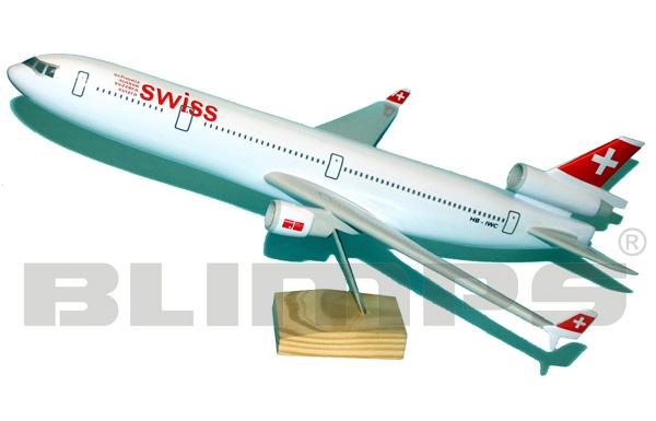 Maquete McDonnell Douglas MD-11 SWISS - 50 cm  - BLIMPS COMÉRCIO ELETRÔNICO