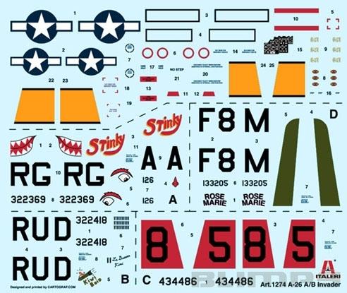 A-26 A/B Invader - 1/72 - Italeri 1274  - BLIMPS COMÉRCIO ELETRÔNICO