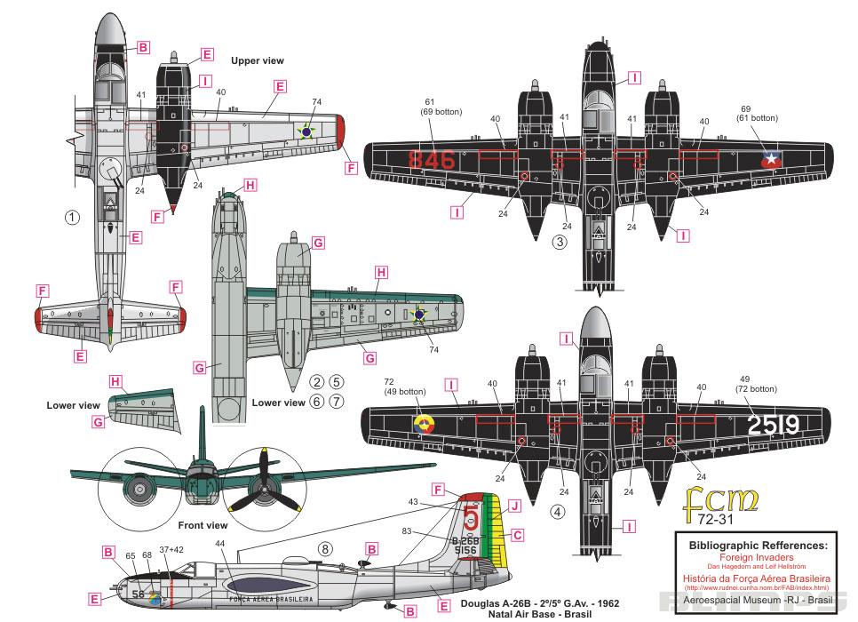 Decalque A-26 Invader 1/72 - FCM 72-031  - BLIMPS COMÉRCIO ELETRÔNICO