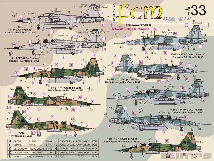 Decalque F-5B, E e EM da FAB 1/48 - FCM 48-033  - BLIMPS COMÉRCIO ELETRÔNICO