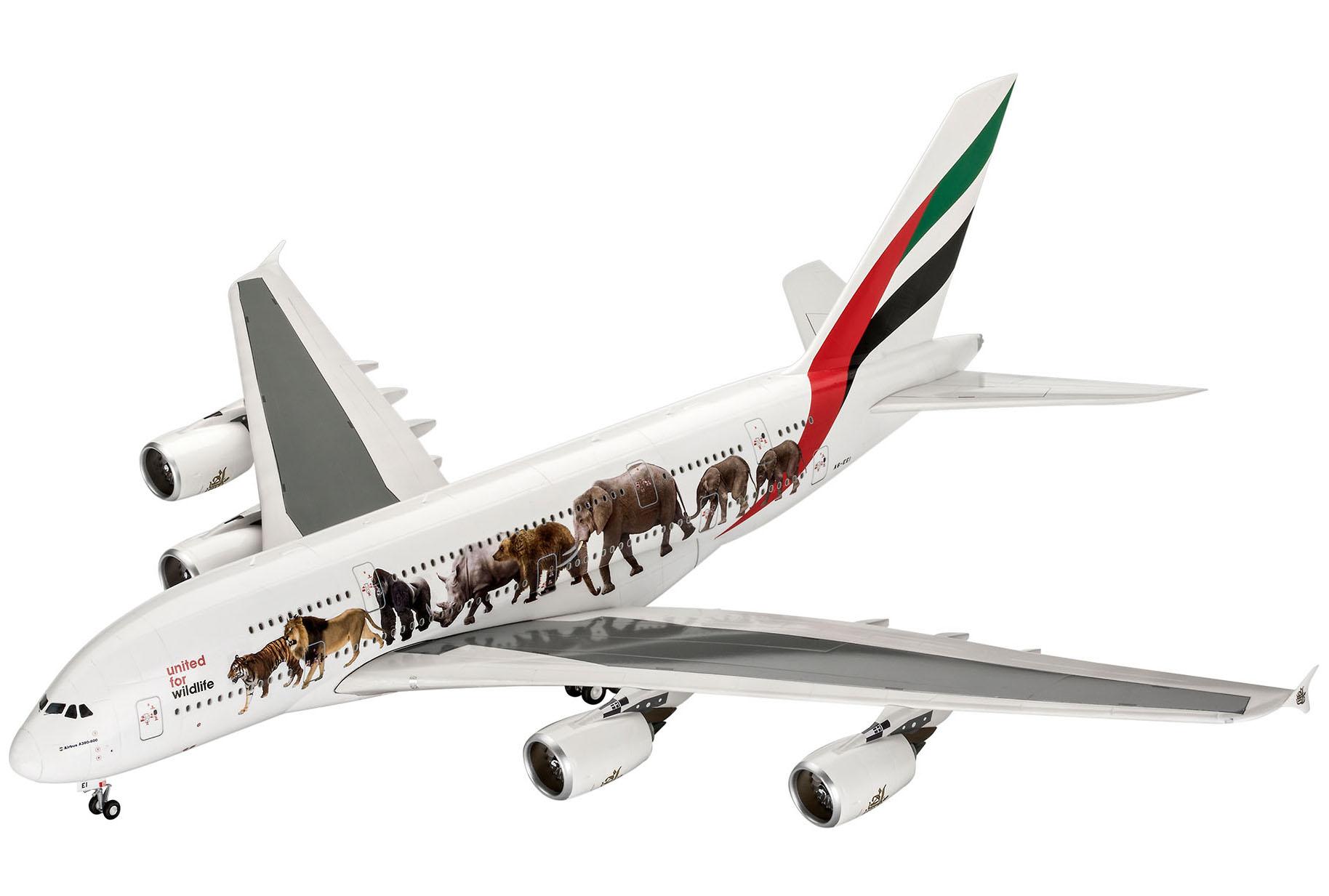 """Airbus A380-800 Emirates """"Wild Life"""" - 1/144 - Revell 03882  - BLIMPS COMÉRCIO ELETRÔNICO"""
