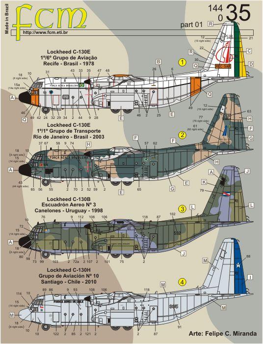 C-130E Hercules - 1/144 - Minicraft 14748 com decalques FAB  - BLIMPS COMÉRCIO ELETRÔNICO