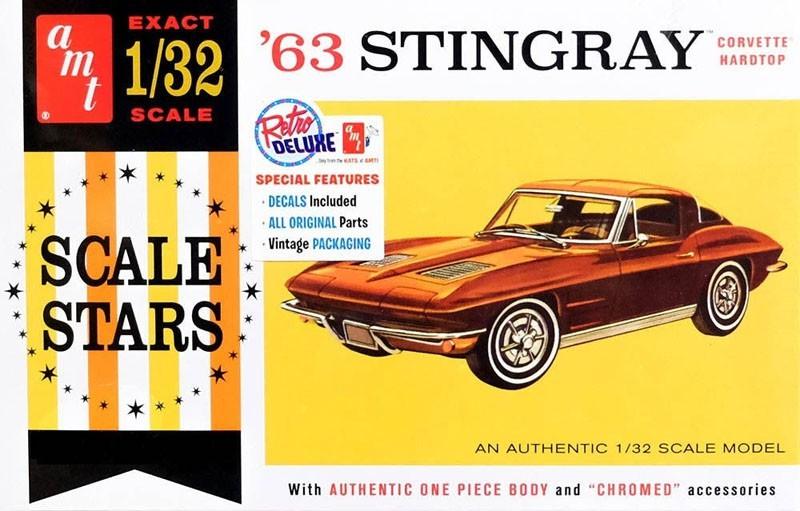 Corvette Stingray 1963 - 1/32 - AMT 1112  - BLIMPS COMÉRCIO ELETRÔNICO