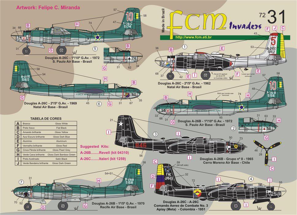 Decalque A-26 Invader B e C FAB 1/72 - FCM 72031  - BLIMPS COMÉRCIO ELETRÔNICO