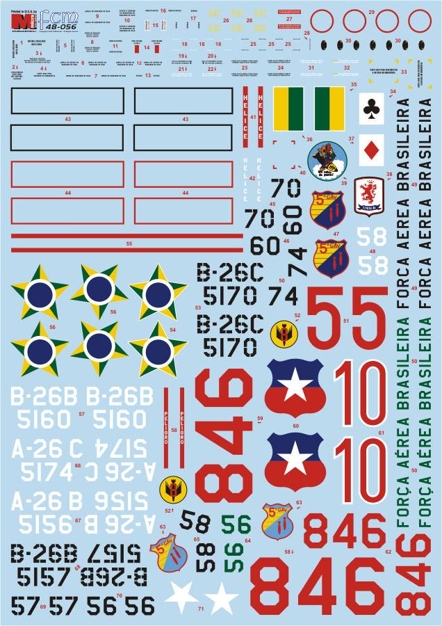Decalque A-26B/C Invader 1/48 - FCM 48-056  - BLIMPS COMÉRCIO ELETRÔNICO