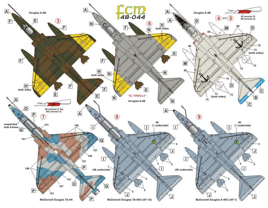 Decalque A-4KU e TA-4KU da Marinha 1/48 - FCM 48-044  - BLIMPS COMÉRCIO ELETRÔNICO