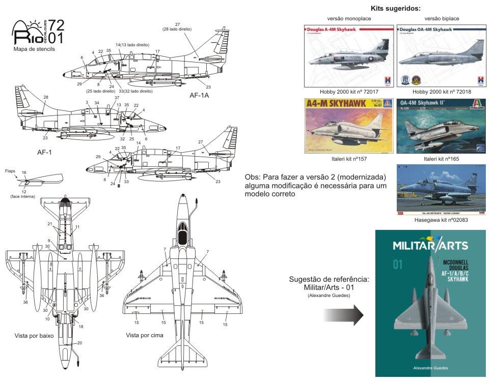 Decalque AF-1/1A/1B Marinha do Brasil 1/72 - FCM Rio 72001  - BLIMPS COMÉRCIO ELETRÔNICO