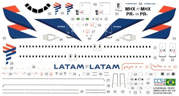 Decalque Airbus A320-214 – PR-MHX – LATAM Airlines Brasil 1/144 - CCS-AC144-TAM-A320-2  - BLIMPS COMÉRCIO ELETRÔNICO