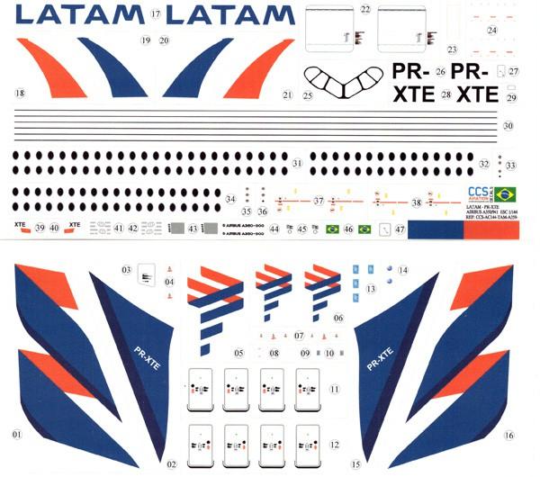 Decalque Airbus A350-941 – PR-XTE – LATAM Airlines Brasil 1/144 - CCS-AC144-TAM-A359-1  - BLIMPS COMÉRCIO ELETRÔNICO