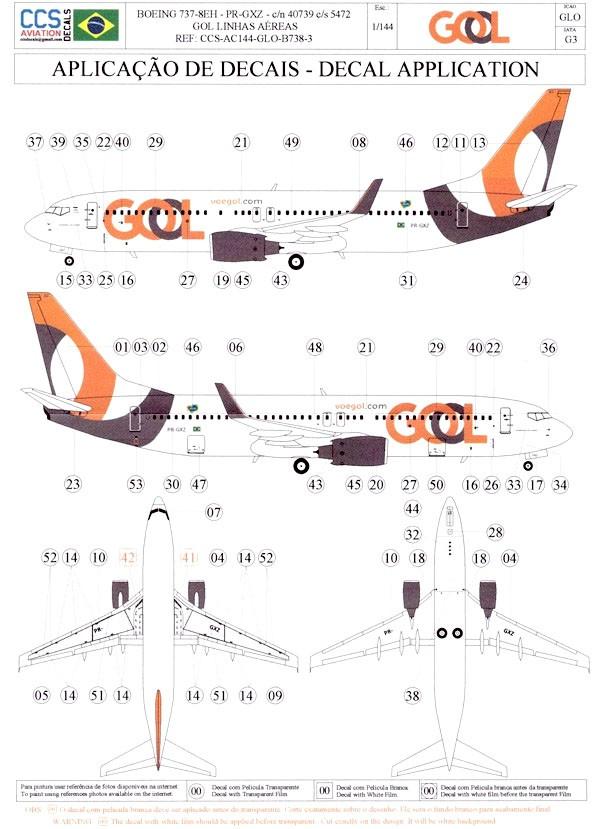 Decalque Boeing 737-8EH – PR-GXZ – GOL 1/144 - CCS-AC144-GLO-B738-3  - BLIMPS COMÉRCIO ELETRÔNICO