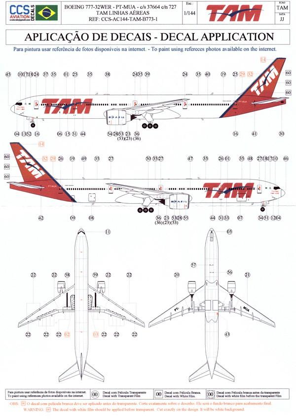 Decalque Boeing 777-32WER – PT-MUA – TAM 1/144 - CCS-AC144-TAM-B773-1  - BLIMPS COMÉRCIO ELETRÔNICO