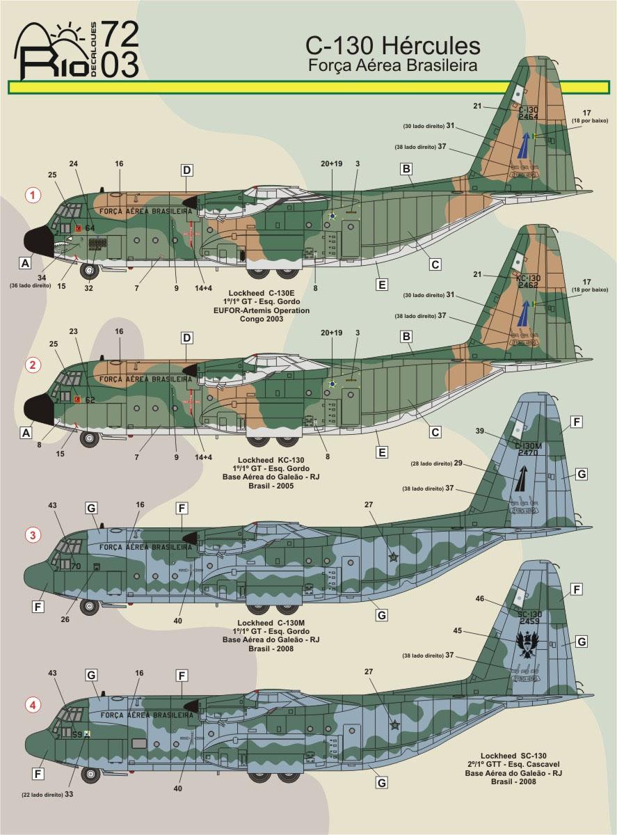 Decalque C-130 FAB versões camufladas 1/72 - FCM Rio 72003  - BLIMPS COMÉRCIO ELETRÔNICO